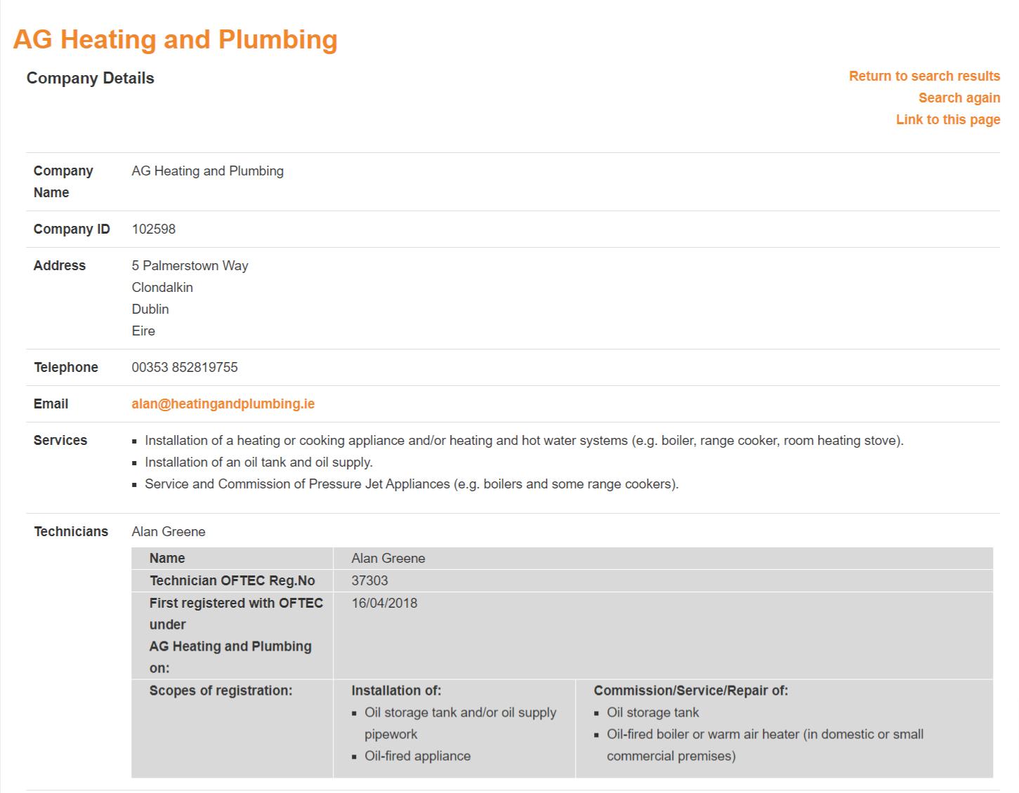 AG Heating & Plumbing - OFTEC Registered Oil Boiler Engineers